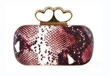 2013 последним дважды сердца горный хрусталь клатчи, Изысканный змея текстуры дамы вечерняя, Мода малый сумка / сумки