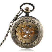 Luxury Bronze Roman Numerals Automatic Mechanical Pocket Watch Men Women Carving Retro Transparent Glass Cover Chain