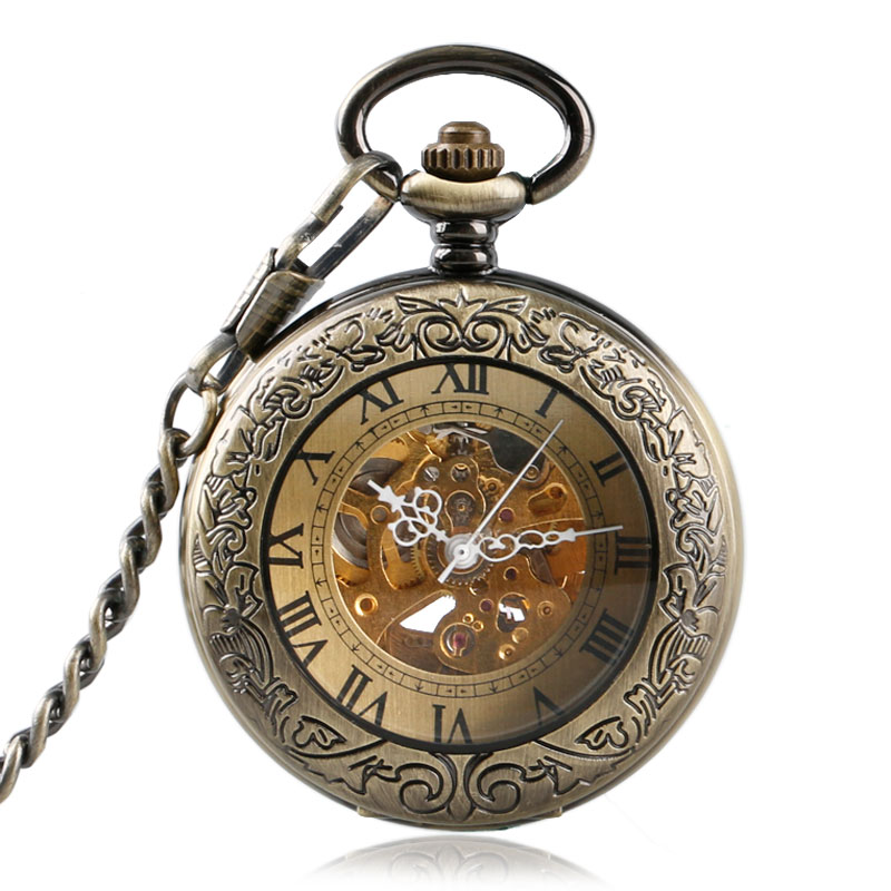 Bronze Automatic Mechanical Pocket Watch Men Women Retro Hollow Out Carving Roman Numeral Transparent Glass Cover Fob Chain Gift