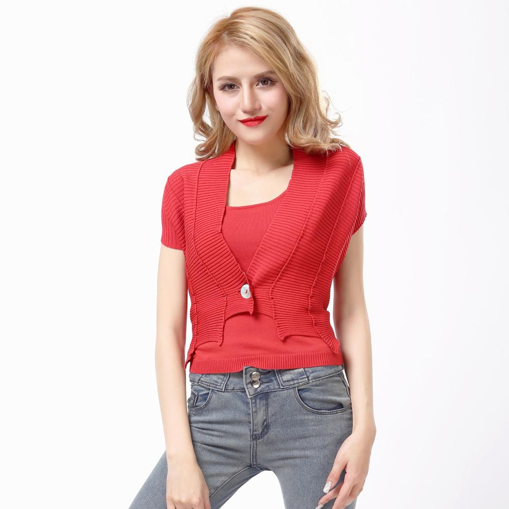 221225f804970 Freeshipping ربيع المرأة سترة جديدة في أوروبا والولايات أحمر موضوع الحياكة  معطف صغير قصيرة الأكمام معطف بيع الترويج الحقيقي