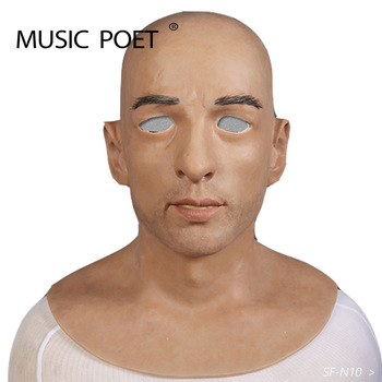 MUSIC POET halloween artificial realistic silicone mask disguised male latex adult full face cosplay mask for party