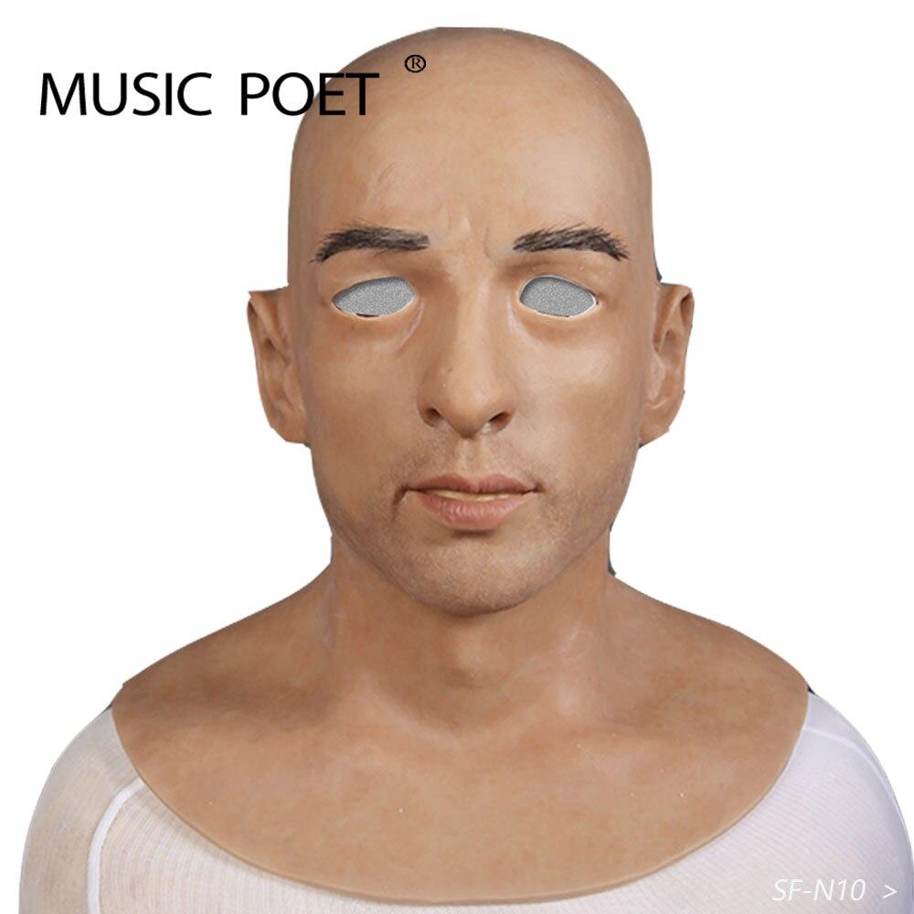 Musique poète halloween artificiel réaliste silicone masque déguisé mâle latex adulte visage complet cosplay masque pour la fête