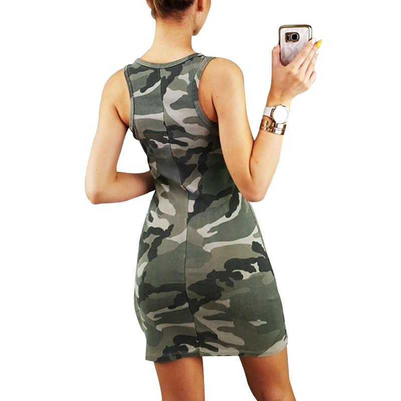 Камуфляжное летнее женское платье, повседневное, Vestidos, сексуальное, Boho платье с круглым вырезом, ropa mujer, с высокой талией, платья на бретелях, Vestidos Verano 2019