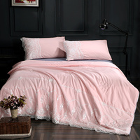 Europe Pink Satin Silk Quilt for Adult Summer Cooling Comforter Lace Embroidered Floral Soft Stitching Bedding Quilting In Stock