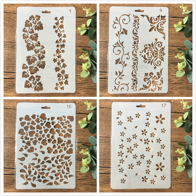 4Pcs/Set 26cm Flowers DIY Craft Layering Stencils Painting Scrapbooking Stamping Embossing Album Paper Card Template