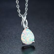 White Drop Australi Opal Necklace Pendants Moonstone Labradorite Sunstone Necklace, Opal Jewelry, October Birthstone White Fire