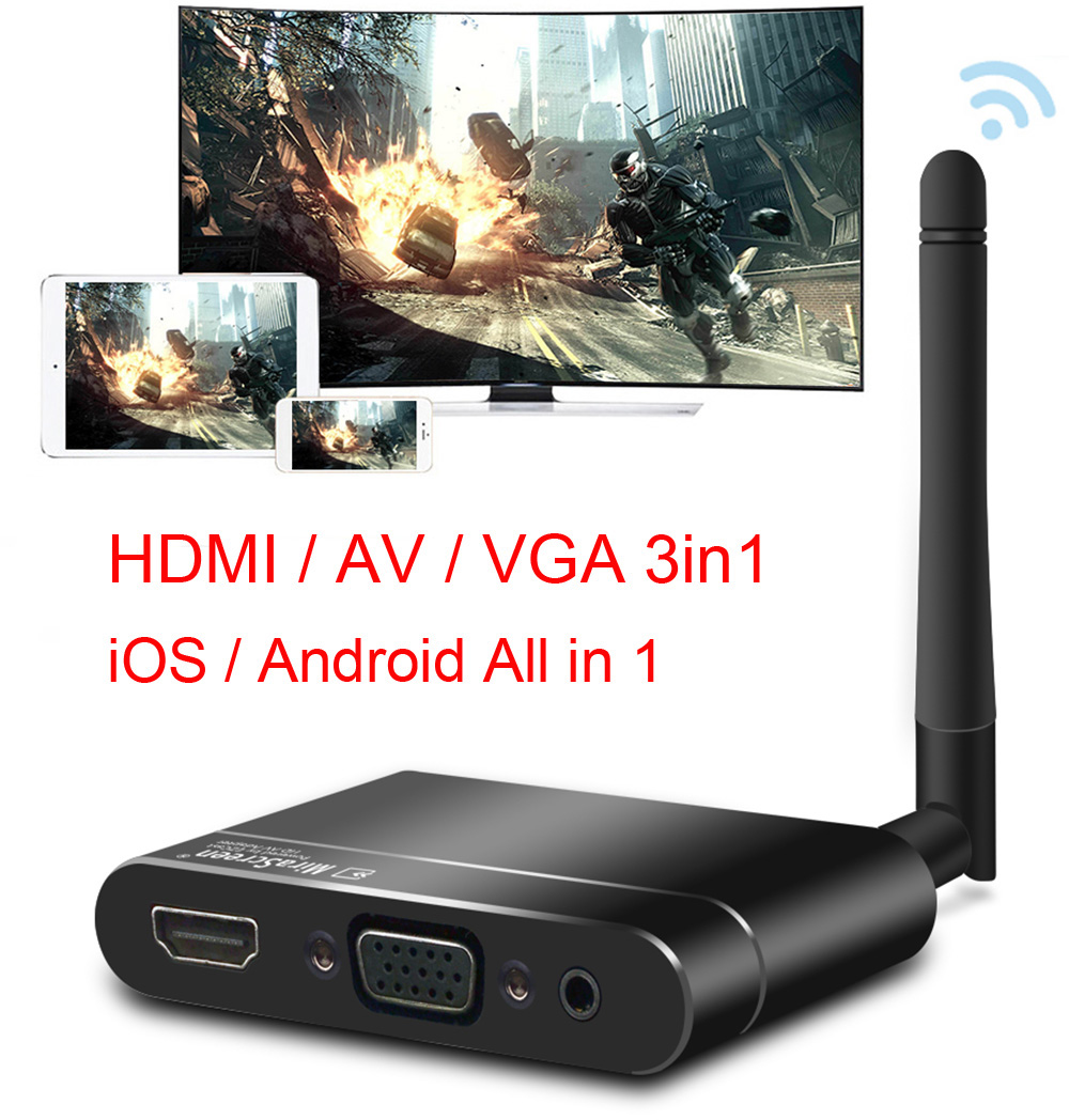 Wireless Wifi HD 1080P HDMI VGA AV Display Adapter Miracast Airplay DLNA Screen Mirroring For IPhone XR IOS Android Phone To TV