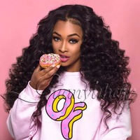 Guanyuhair Lace Front Wigs #1B Natural Color Deep Wave Brazilian Virgin Remy Hair 130% Full Density Free Part