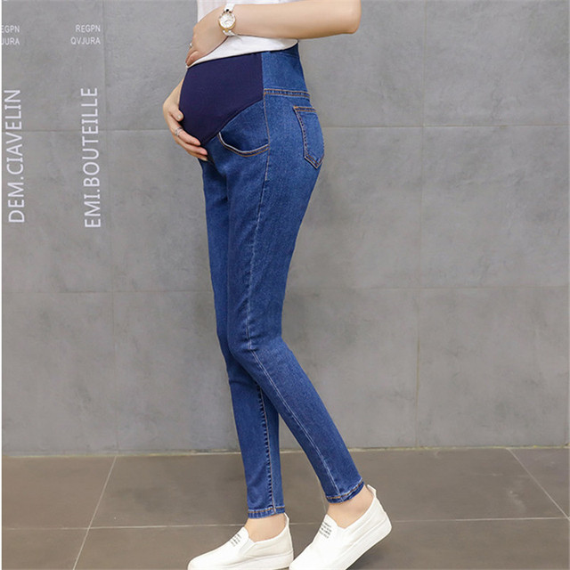 bf7051286da59 HI BLOOM Blue Maternity Pants Fashion Elastic Abdominal Pregnant Trousers  Skinny Women Long Pants Casual For Maternity Ladies
