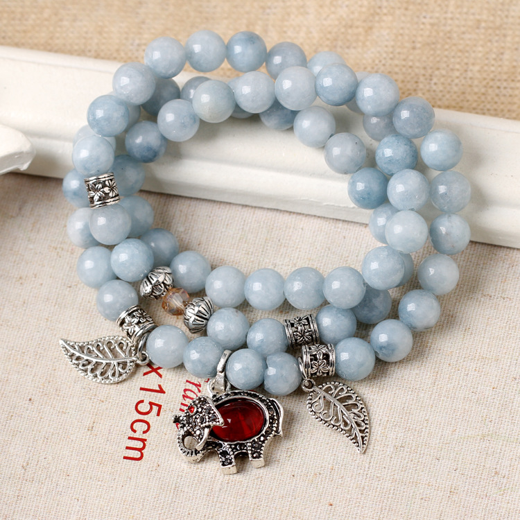 Korean Fashion Natural Aquamarine Stone Crystal Multi-layer Bracelet with Red Rudy Stone Elephant Pendant Buddhist Prayer Beads natural cl10 12 constellation brown leather multi colored stone crystal bracelet