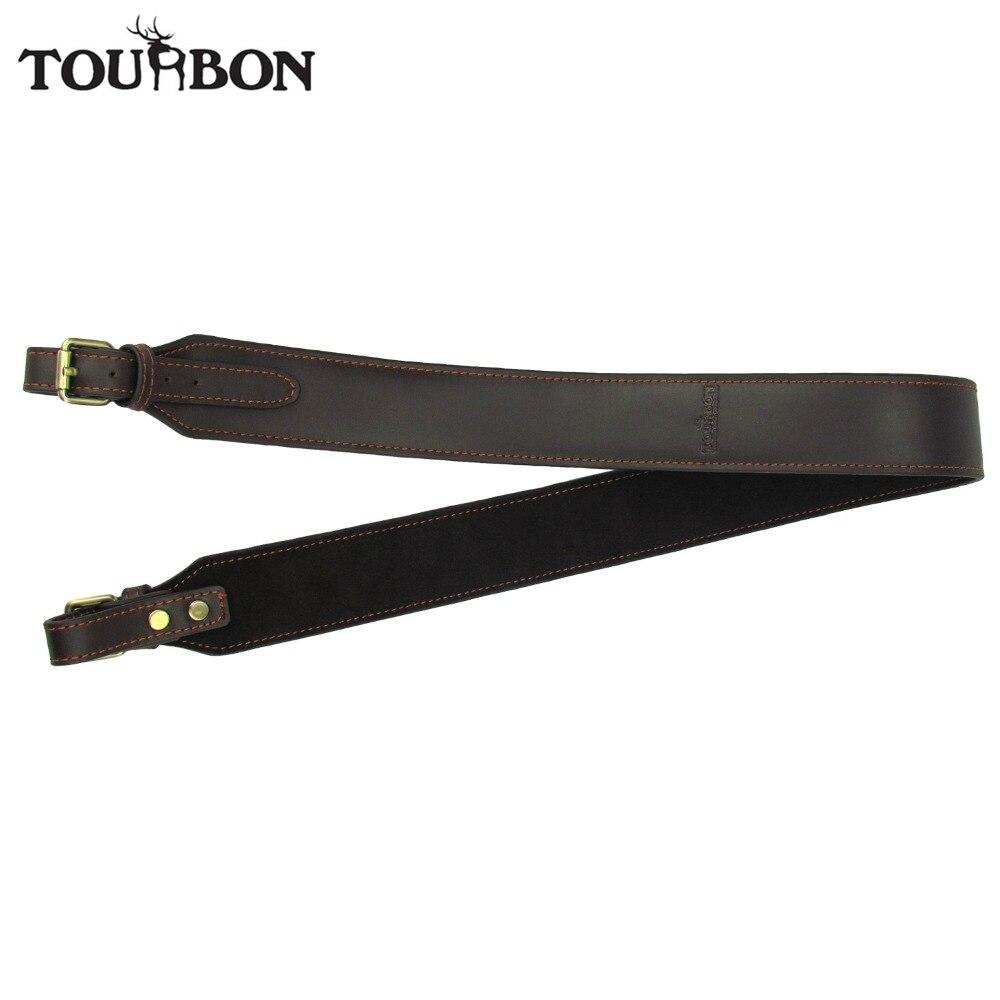 Tourbon Vintage Tactical Hunting Rifle Gun Sling Shotgun Belt Strap Non-Slip Genuine Leather Brown Adjustable Gun Accessories