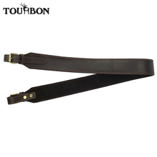 цена на Tourbon Hunting Gun Accessories Vintage Rifle Gun Sling Tactical Durable Adjustable Shotgun Strap Leather Brown 93.5cm Wholesale