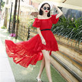 Fashion Women Casual Summer Dress Off Shoulder Slash Neck Asymmetrical Chiffon Dresses Holiday Beach Dress White Red