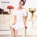 Elegance Nightgowns Women Summer White Nightdress Princess Short-Sleeve Cotton Mesh Long Nightgown Stitch