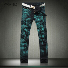 Cool Mens Painted biker jeans 100% Cotton Clubwear fashion Jeans Men Straight Mens Denim joggers cargo pants Mens Printed Jeans