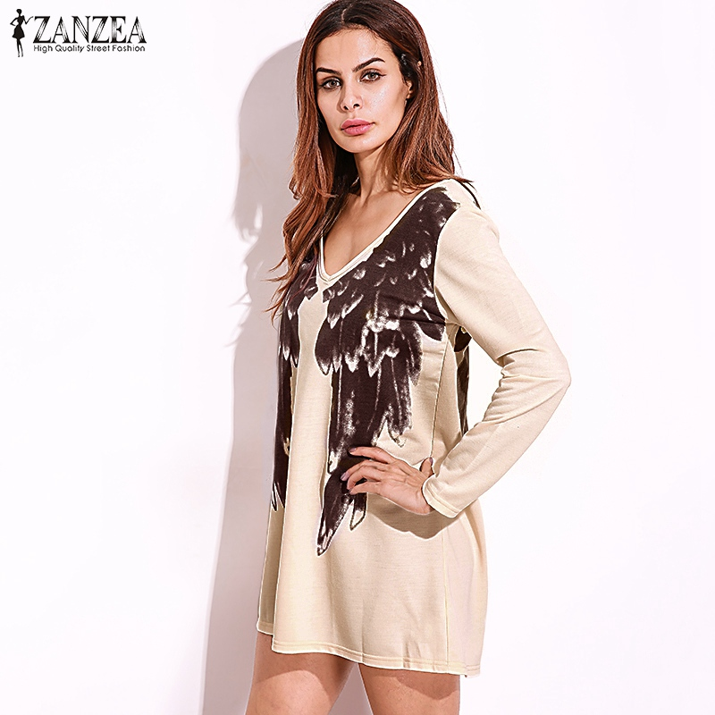 6ce9ac1218 ZANZEA 2018 Sexy Women Vestidos Front Back Wings Print Dress Long Sleeve  Deep V Neck Casual Pullovers Dresses Oversized-in Dresses from Women s  Clothing on ...