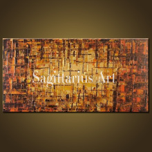 Hand Painted High Quality Modern Palette Knife Painting Golden Brown Metal Wall Abstract Oil Painting Canvas Wall Living Room