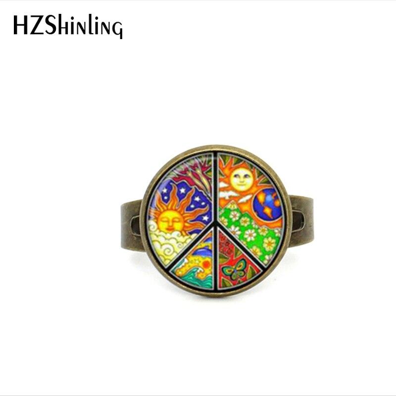 2017 Neue Stil Hippie Frieden Einstellbare Ring Vorstellen Frieden Schmuck Glas Dome Ring Geschenke Für Mädchen Bronze Silber Ring Moderater Preis