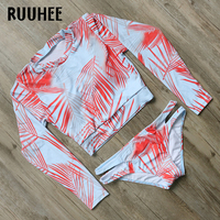RUUHEE Bikini Swimwear Women Swimsuit Bikini Set 2018 Halter Bathing Suit Long Sleeve Beachwear Swimming Suit