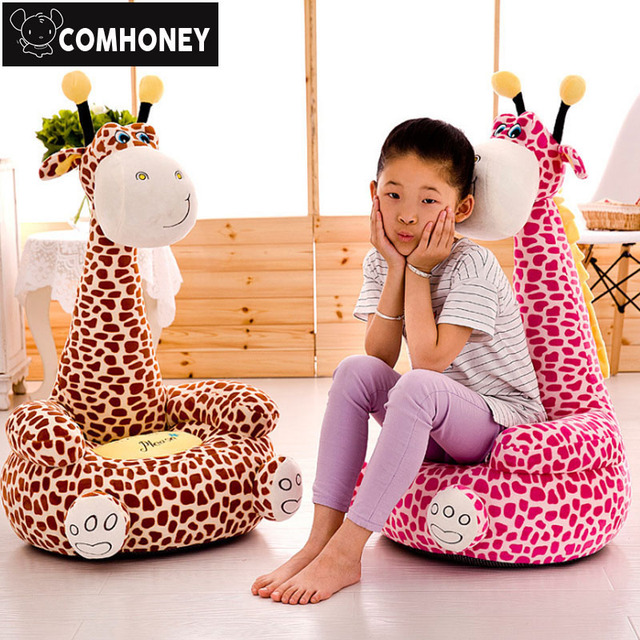 Sweet Giraffe Baby Bean Bag Chair Cartoon Stuffed Plush Animals Feeding Chair  Seat For Children Furniture