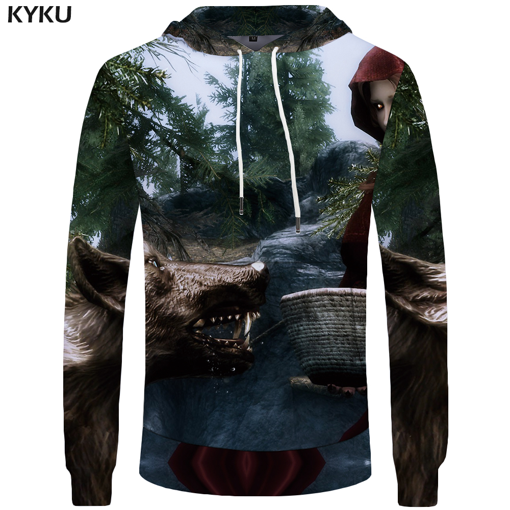 KYKU Wolf Hoodies Men Maid Mens Clothing Jungle Big Size Anime Pocket Sweatshirts Hoddie 3d Hoodies Tracksuit Sweat shirt