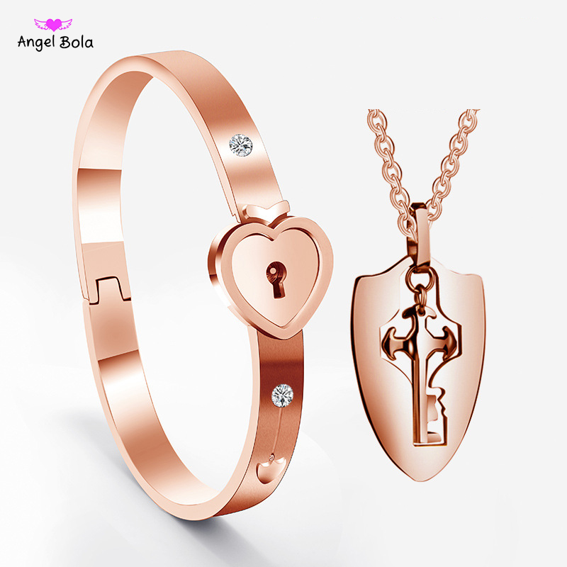 Rose Gold A Couple <font><b>Jewelry</b></font> <font><b>Sets</b></font> <font><b>Stainless</b></font> <font><b>Steel</b></font> Love Heart Lock Bracelets Bangles Key Pendant Necklace Couples Free Shipping image