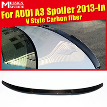 цена на A3 Rear Trunk Spoiler Wing Lip Small AEV Style Carbon Fiber For A3 A3Q Auto Air Rear Trunk Spoiler Tail Wing Car Styling 2013-in