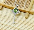natural peridot stone pendant S925 silver Natural olivine Pendant Necklace elegant fashion Crown key women fine jewelry
