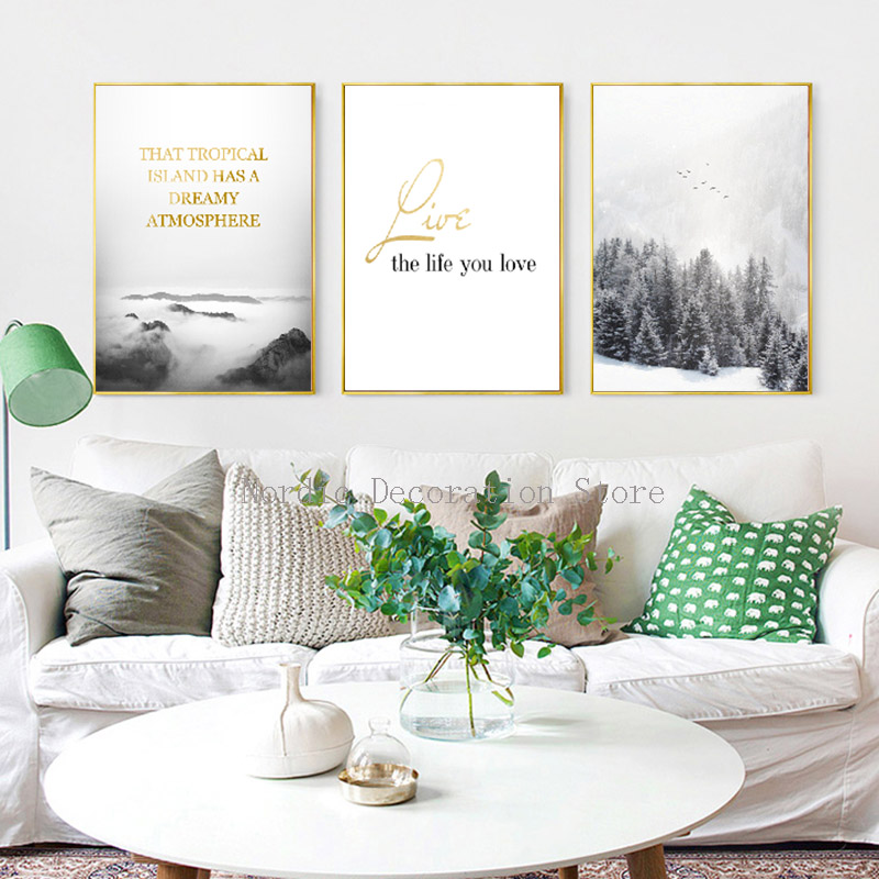 FGHGF Posters And Prints Tropical Island Wall Art Canvas Painting Landscape Gold Letter Wall Pictures For Living Room Frameless