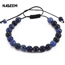New Fashion Men's Natural Blue-Veins Stone Beaded Braided Macrame Bracelet For Women Handmade Adjustable Mala Bracelet Jewelry