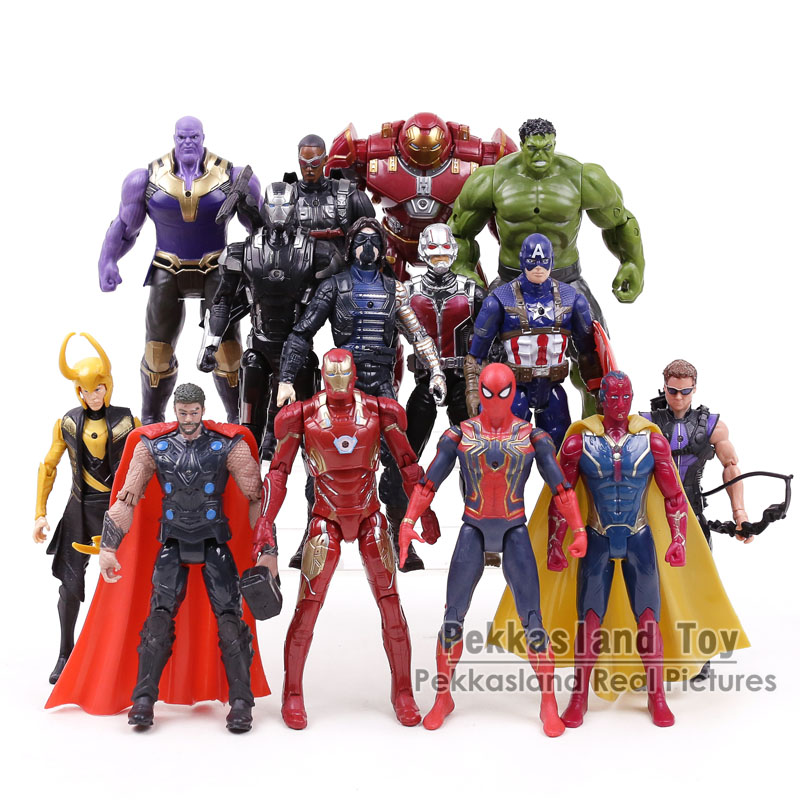 Avengers Infinity War PVC Action Figures Toys Thanos Iron Man Captain America Thor Hulkbuster Spiderman Gifts for Boys 14pcs/set avengers super hero mini weapons captain america shield iron man helmet thor hammer figures model toys with led light set page 9