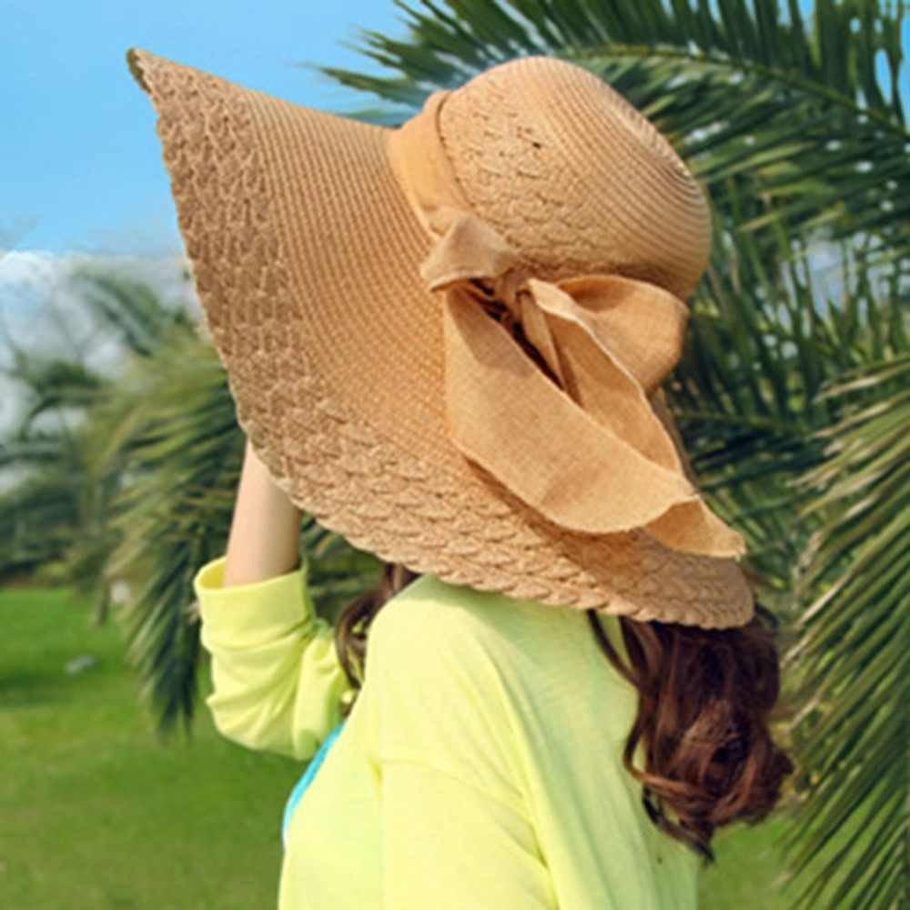 Detail Feedback Questions about Summer big brim sun hats for women Ribbon  bowknot straw hats Panama ladies Beach sun hat for big head UV protection  chapeu ... 1680a77e93b0