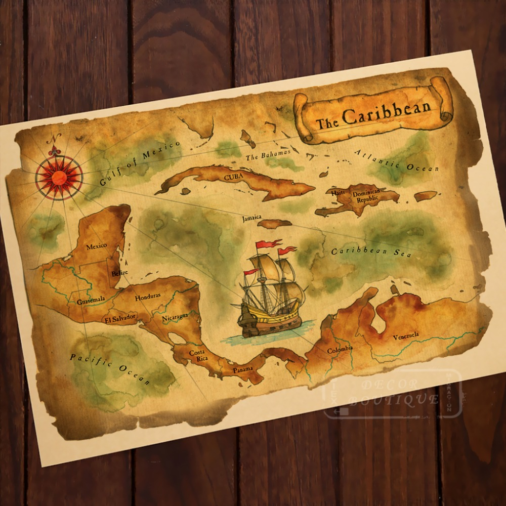 The Caribbcan Gulf of Mexico Map Classic Vintage Retro Kraft ...