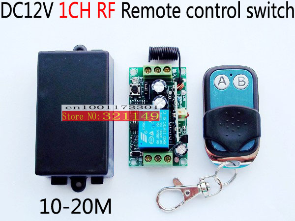 freeshipping 12V 1CH 10A wireless RF Remote Control Switch  12V laerning conde reciver + metal AB keys trasmitter