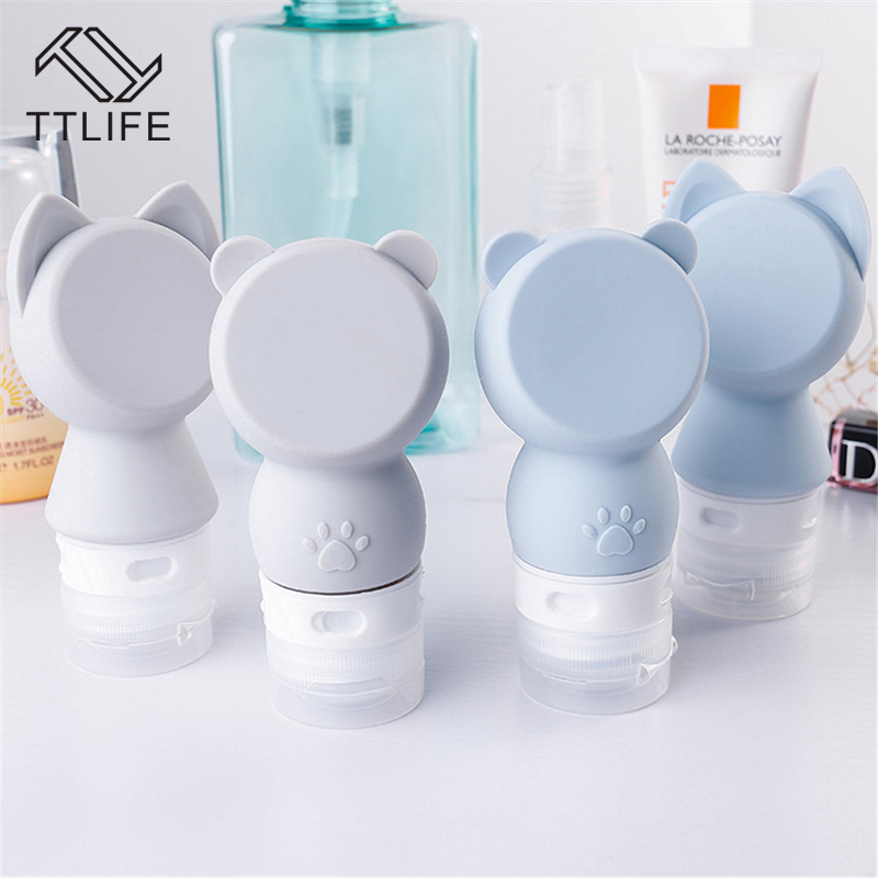 TTLIFE Cartoon Cat Bear Portable Cosmetic Bottle Bottling Shampoo Sub-bottle Travel Hand Sanitizer Lotion Bottle Empty Bottle