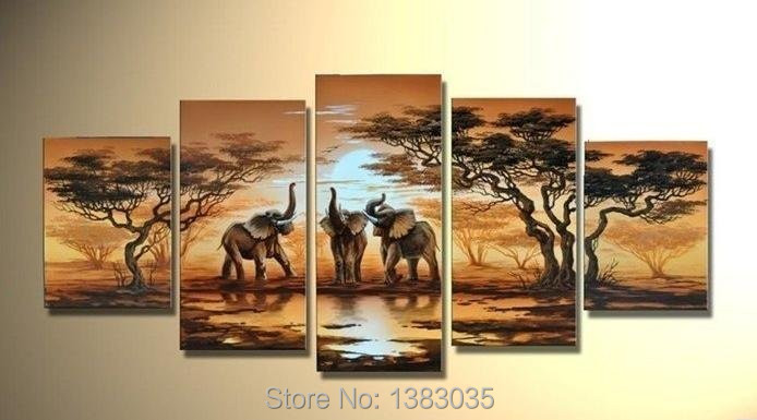 Handmade Abstract 5 Pieces Art Oil Picture Sunset Landscape African Paintings Canvas Elephant Decoration Modern Sets Wall - Fashion Painting store