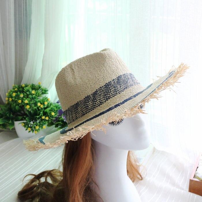 01902 Meer Strand Streifen Handgemachte Handgemachte Papier Quaste Fedoras Hut Strand Fecoras Kappe Frauen Stroh Panama Hut
