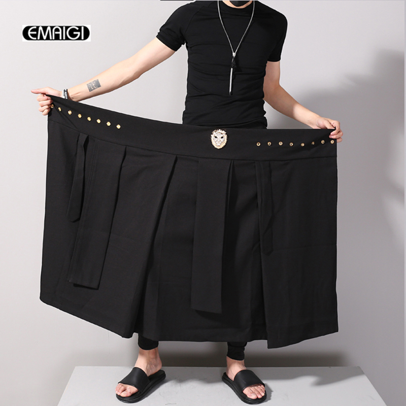 Adjustable Waist Men Casual Skirt Pant Leopard Head Decoration Punk Hip-hop Male Fashion Show Trousers Loose Harem Pant