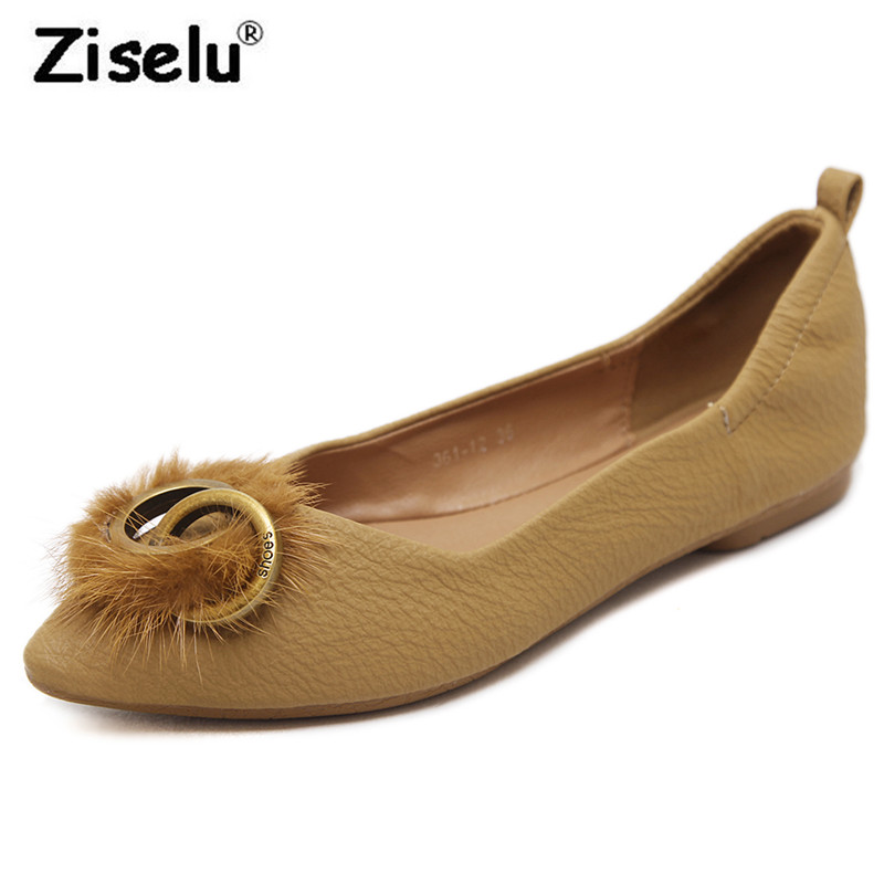 Ziselu Pointed Toe Luxury Fur Metal Folding Women Ballet Flats PU Leather Slip on Comfortable 2018 Spring New Fashion Lady Flats cresfimix women cute spring summer slip on flat shoes with pearl female casual street flats lady fashion pointed toe shoes