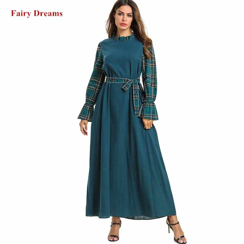 Abayas женская одежда больших размеров 4XL с длинным рукавом Бандажное Макси мусульманское платье плед кафтан мусульманская одежда для Дубай Малайзия Турция Кафтан Халат