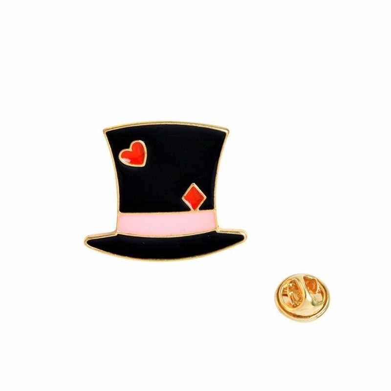 11 סגנון חדש חמוד חתול טירה כובע ארנב עוגת כתר שעון קומקום אליס מתכת אמייל סיכת פין אביזרי סיטונאי
