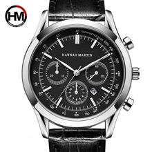 Hannah Martin Mens Watches Top Luxury Men Genuine Leather Quartz Watch Fashion Sport Military Waterproof Wrist Clock