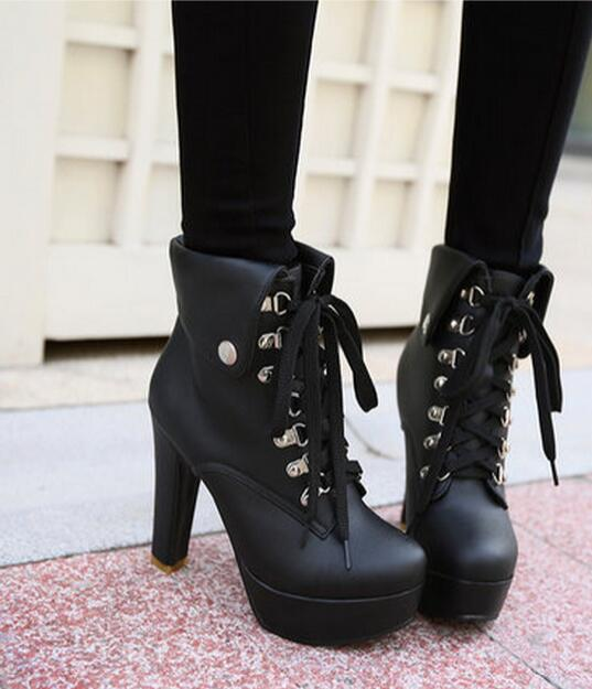 Popular Lace up Chunky Heel Boots-Buy Cheap Lace up Chunky Heel