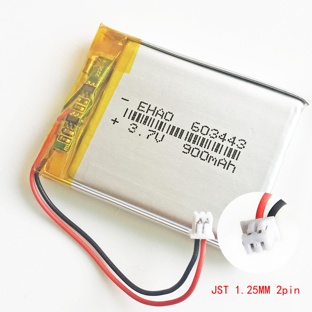 37V 900mAh Battery JST 125mm 2pin Connector 603443 Lithium Polymer Li Po Rechargeable For Mp3 GPS PSP Speaker Recorder