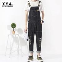 Fashion Slim Fit Pencil Pants Camo Patchwork Mens Jumpsuits Suspender Denim Hombre Trousers Casual Washed Full