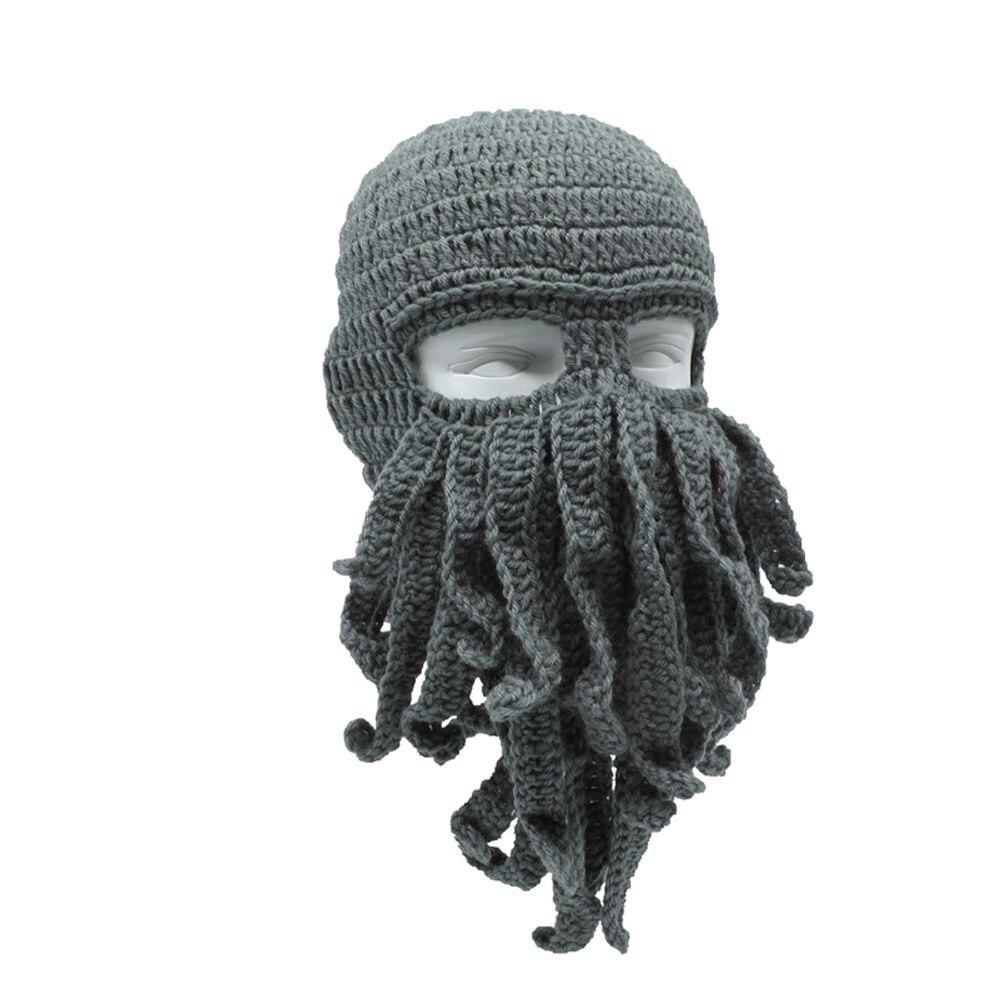 Octopus Hat Beard Beanie Wind-Mask Crochet Tentacle Cthulhu Knit Animal Funny Halloween