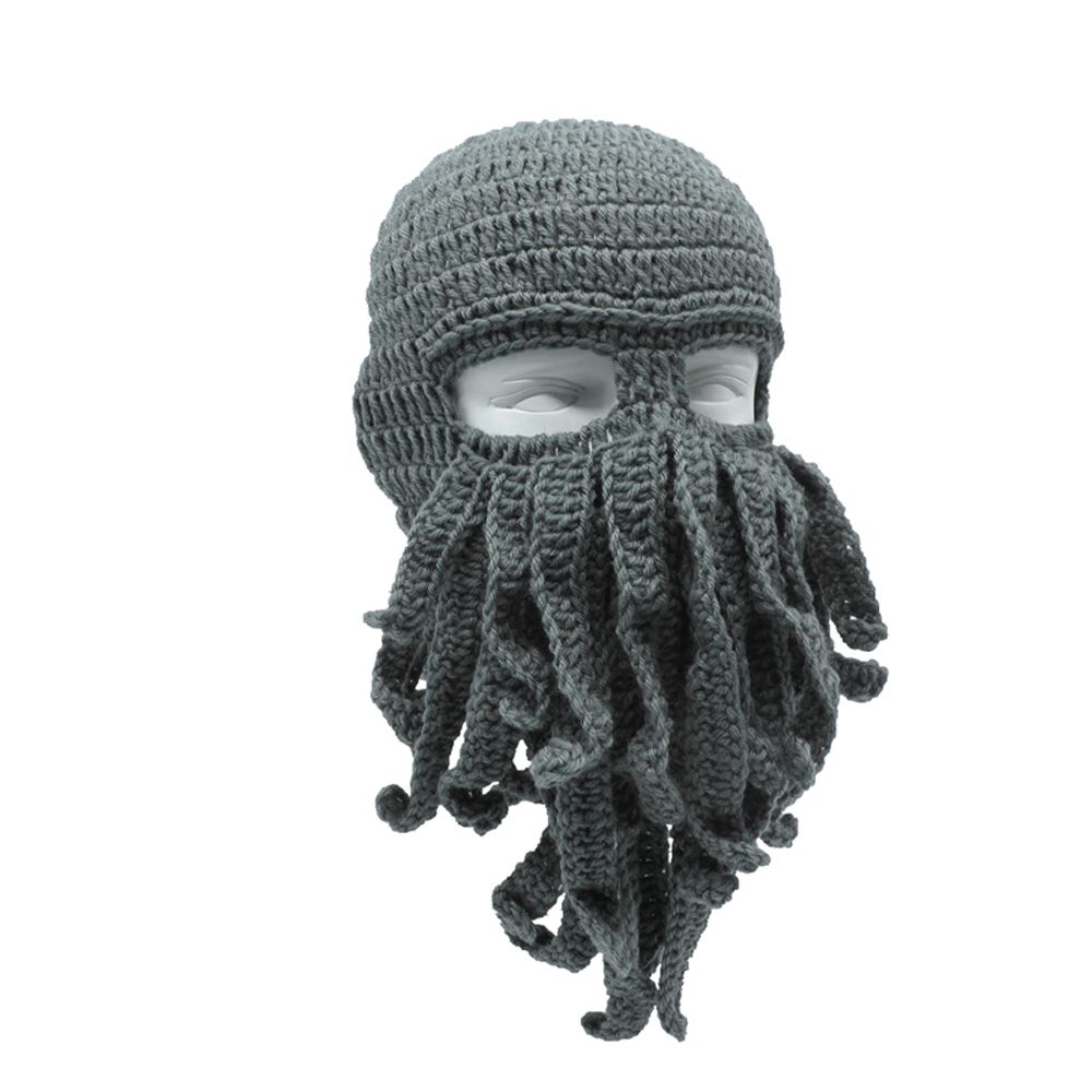 Novelty Handmade Funny Tentacle Octopus Hat Crochet Cthulhu Beard Beanie Men's Women's Knit Wind Mask Cap Halloween Animal Gift