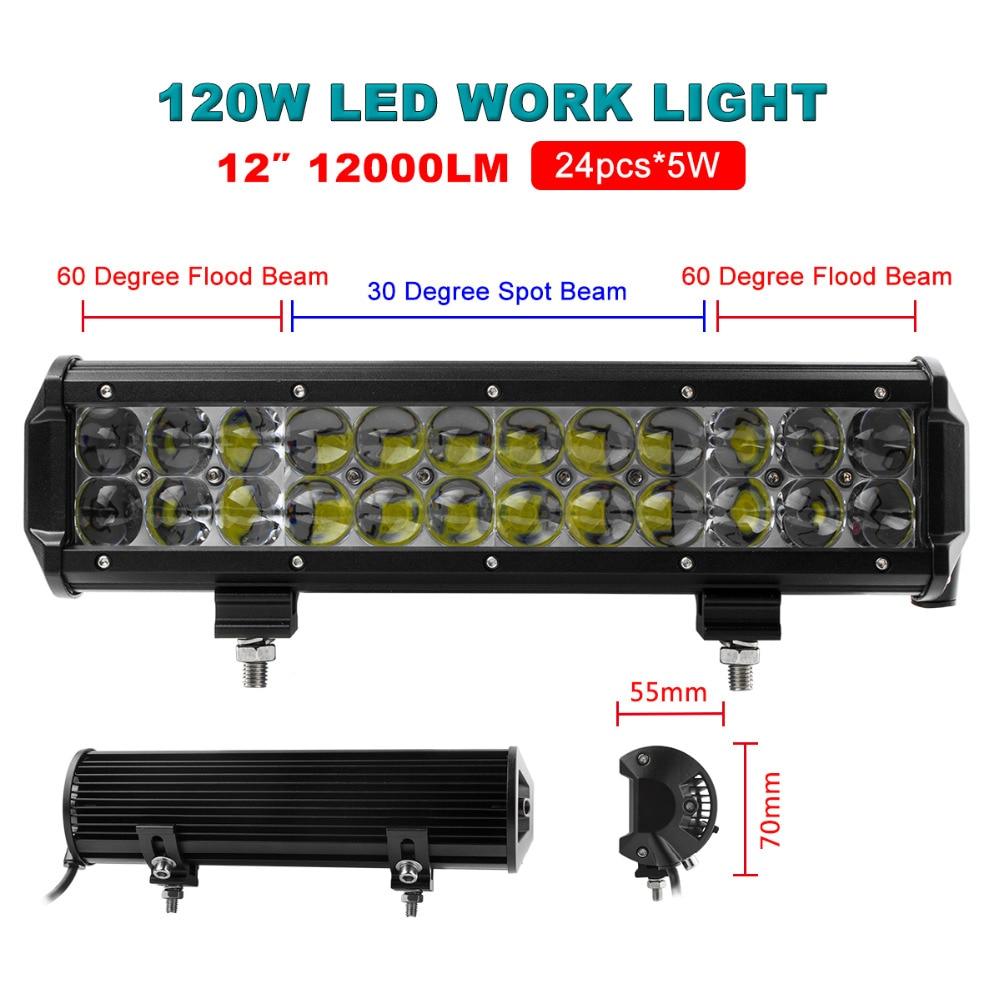 12 inch 120w car led work light bar flood spot combo. Black Bedroom Furniture Sets. Home Design Ideas