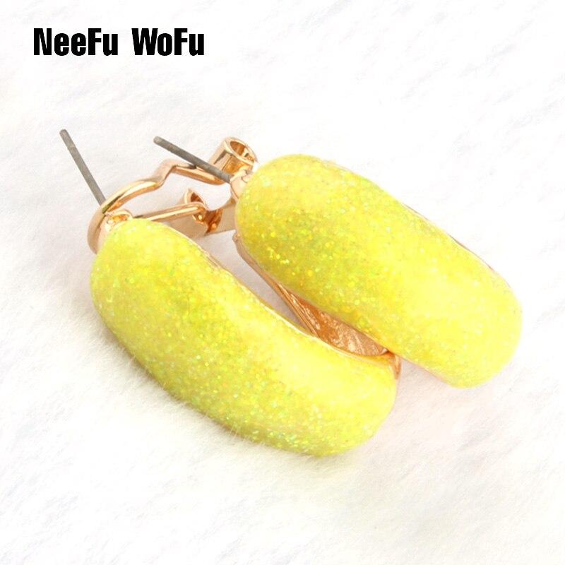 NeeFu WoFu Drop Big Earring Flash Printed Metal for Woman Ear Ring Large Long Brinco Pri ...