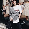 TWOTWINSTYLE Plaid Backless Hollow Two Pieces Sets Women Long Sleeve Blazer White Letter Print T Shirts